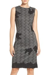 Taylor Dresses Women's Floral Applique Jacquard Sheath Dress