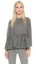 Victoria Beckham Gingham Ruffled Peplum Top Black White