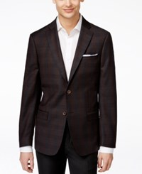 Dkny Men's Slim Fit Dark Brown Windowpane Sport Coat