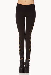 Forever 21 Metallic Southwestern Pattern Leggings Black Gold