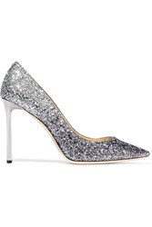 Jimmy Choo Romy Glittered Leather Pumps Silver