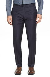 Men's Strong Suit 'Dagger' Flat Front Solid Wool Trousers Navy
