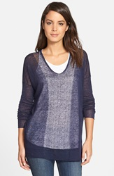 Eileen Fisher Contrast Panel Sheer Hemp Blend Top Midnight