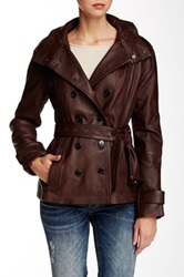 7 For All Mankind Belted Short Leather Trench Brown
