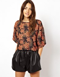 Asos Crop Top With Kimono Sleeve In Jewel Print Multi