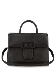 Maison Martin Margiela Buckle Embelished Grained Leather Tote Black