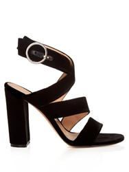 Gianvito Rossi Rylee Wide Strap Velvet Sandals Black