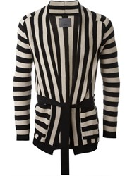 Laneus Striped Belted Cardigan Black