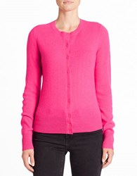 Lord And Taylor Crewneck Cashmere Cardigan Pink
