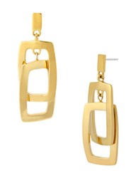 Kenneth Cole Gold Plated Rectangle Double Drop Earrings