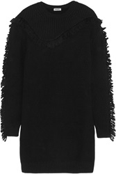 Kenzo Fringed Ribbed Wool Mini Sweater Dress