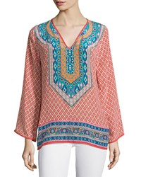 Tolani Mona V Neck Printed Border Tunic Coral Women's
