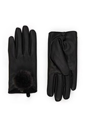 Forever 21 Pom Pom Faux Leather Gloves Black Black