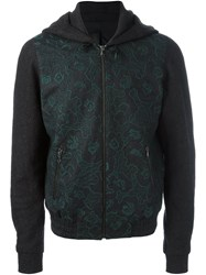 Wooyoungmi Embroidered Zipped Hodie Grey