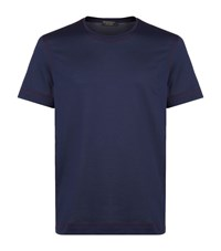 Burberry Runway Contrast Stitch T Shirt Male Navy