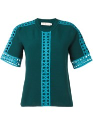 Tory Burch Cut Off Detail Blouse Green