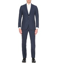 Richard James Single Breasted Slim Fit Wool Crepe Suit Ink