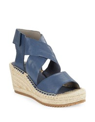 Eileen Fisher Willow Tumbled Leather Espadrilles Platform Wedge Sandals Dark Mulberry