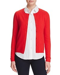 Bloomingdale's C By Crewneck Cashmere Cardigan Cherry