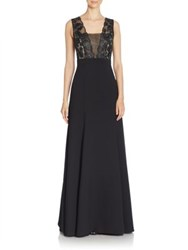 Black Halo Cecilia Sleeveless Solid Gown Black