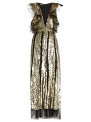 Alexander Mcqueen Mesh Insert Ruffled Sequinned Gown Gold Multi