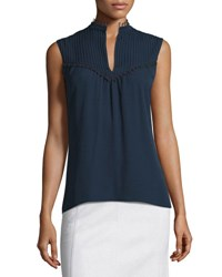 Derek Lam Sleeveless Pintucked Silk Blouse Navy
