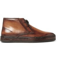 Berluti Polished Leather Desert Boots Brown