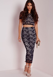 Missguided Longline Lace Midi Skirt Navy Blue