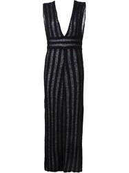 The Elder Statesman Sheer Stripe Long Dress Black