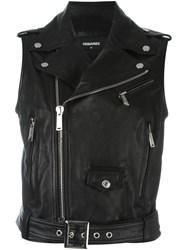 Dsquared2 Sleeveless Classic Leather Jacket Black
