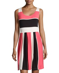 Neiman Marcus Striped Sleeveless Scoop Neck Dress Moon White Black Coral Pink