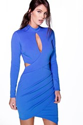 Sia Crepe Keyhole Wrap Skirt Bodycon Dress