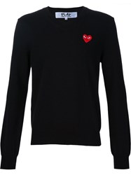 Comme Des Gara Ons Play Heart Application V Neck Sweatshirt Black