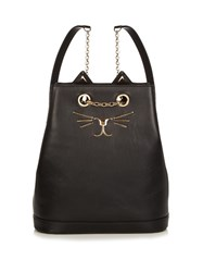 Charlotte Olympia Feline Leather Backpack Black