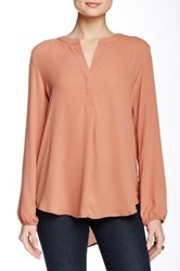Harlowe And Graham Long Sleeve Split Front Round Collar Blouse Red