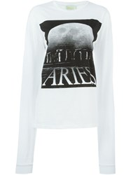 Aries Logo Print Longsleeved T Shirt White