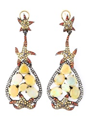 Gemco Diamond Sapphire And Opal Earrings Yellow And Orange