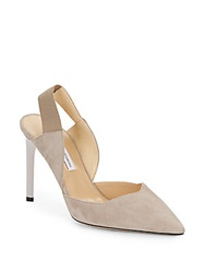 Diane Von Furstenberg Blaire Suede Point Toe Slingback Pumps Light Taupe