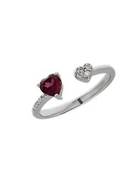 Lord And Taylor Garnet Sterling Silver And Diamond Heart Open Ring Red