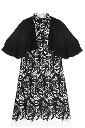 Giamba Organza Cape Dress Black