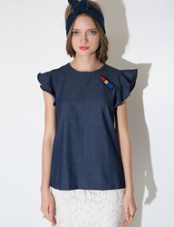 Pixie Market Denim Lipstick Top