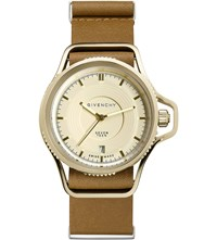 Givenchy Gy100181s02 Seventeen Yellow Gold Plated And Leather Watch