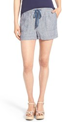 Women's Caslon Drawstring Linen Shorts Navy Rainbow Stripe