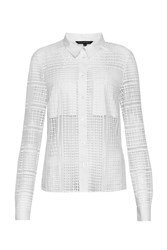 French Connection Summer Cage Laser Cut Shirt White