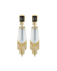 Alexis Bittar Golden Lucite And Crystal Dangling Fringe Clip Earrings Women's