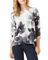 Phase Eight Alcina Leaf Print Sweater Gray