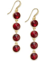 Charter Club Bezel Set Crystal Linear Earrings Only At Macy's Red Gold
