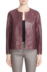 Lafayette 148 New York Women's Callia Laser Cut Lambskin Leather Jacket