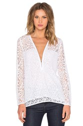The Kooples Lace Zip Up Top White