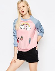 The Whitepepper Patch Jumper Pink And Blue Multi